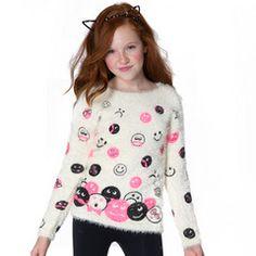 Snow Emoji Fuzzy Sweater #giftsforher #tweenfashion