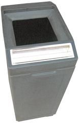 Commercial 39 Gallon Trash Can with Ashtray - Grey Open Top