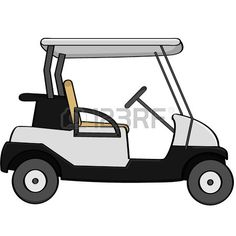 Cartoon illustration of an empty golf cart Stock Vector