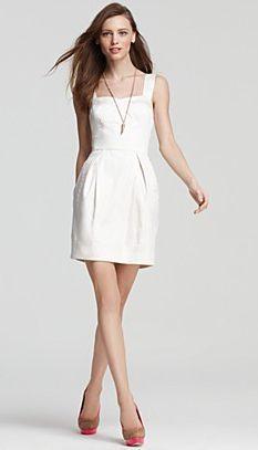 cute neckline and tulip shape.   White Cotton Dress