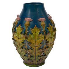 """Peter Ipsen, Thistle vase, Denmark, glazed ceramic, impressed signature, 8""""dia x 12.5""""h"""