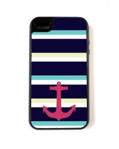 Amazon.com: iPhone 4 Case - Hard Capsule Case iPhone 4/4s Case - Large Nautical Stripes Anchor: Cell Phones & Accessories