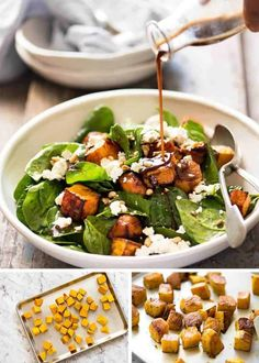 Try this Roast Pumpkin, Spinach and Feta Salad with Honey Balsamic Dressing for your next Sunday lunch! Terrific as a side or as a meal, this is a really magical combination of flavours. Roast Pumpkin Salad, Pumpkin Sauce, Spinach Salad Recipes, Spinach And Feta, Honey Balsamic Dressing, Vegetarian Recipes, Healthy Recipes, Healthy Lunches, Veg Recipes