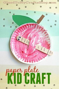 Paper Plate Apple w/Popsicle Stick Worm - Kid Craft Idea (paper crafts for kids fruit)