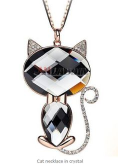 Cat necklace in crystal Cheap Silver Jewelry, Crystal Jewelry, Cat Necklace, Pendant Necklace, Crystals, Crystal, Drop Necklace, Crystals Minerals