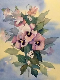 """Pretty Pansy's"" Watercolor by Sharlene Stahl."