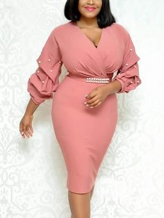 Elegant V-Neck Beads Bodycon Party Dress Casual Women Autumn Solid Long Sleeve Dress Slim Knee Length Empire Dress African Fashion Dresses, African Dress, Fashion Outfits, Dress Fashion, Tight Dresses, Cotton Dresses, Casual Dresses, Bodycon Dress Parties, Party Dress