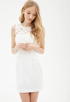 forever 21 Layered dress floral crochet white