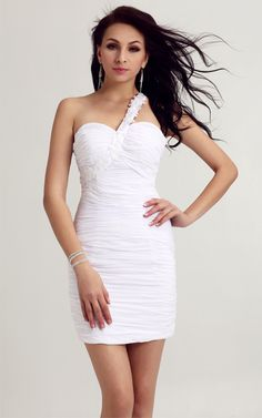 One-shoulder Tight Evermiss 1024 White Homecoming Dress White Homecoming  Dresses 32aee4883