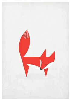Retro fox poster in Scandinavian style.