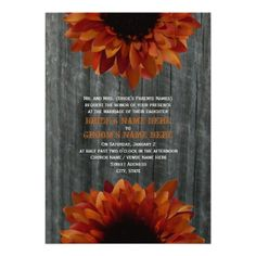 Barnwood & Sunflower Fall Wedding Invitation