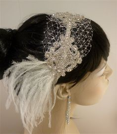 Crystal Rhinestone Ivory Ostrich Feather and by IceGreenEyes, $85.00