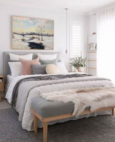 Neutral Bedroom Decor, Room Ideas Bedroom, Home Decor Bedroom, Adult Bedroom Ideas, Cozy Master Bedroom Ideas, Feminine Bedroom, Bedroom With White Walls, Gray Bedroom Furniture, Neutral Bedding