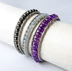 Amethyst Wrap Bracelet featuring purple amethyst crystal, pale blue angelite stones and dark silver hematine (imit. hematite) beads woven within silver leather.  This handmade beaded bracelet includes some of my favourite beads to design with - Grade A quality amethyst natural stones. These beads are the most beautiful, bright and vibrant colour of purple. This definitely a wrapped bracelet perfect for a purple-lover!  Amethyst is also the February birthstone.