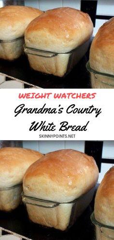Grandma's Country White Bread - Bread Recipes - Homemade Bread Artisan Bread Recipes, Easy Bread Recipes, Healthy Diet Recipes, Ww Recipes, Cooking Recipes, Cooking Tips, Recipies, Grandma's Bread Recipe, White Bread Recipes