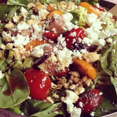 lightyogaspace: Wild rice, puy, quinoa, fig, tomato, chia, feta & spinach, w flax oil, olive oil, balsamic & honey dressing. BOOM!