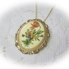 Red Flower Cameo Pendant - Gold Botanical Flower Necklace - Poppy Red, African Violets - Pantone 2013 colors - Brooch on Etsy, $18.00