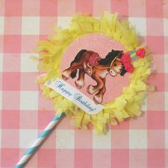 Yellow/Pink Horse Cake Topper by marileejanedesigns.etsy.com