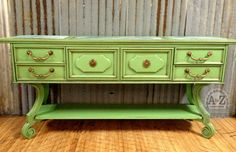 Green Buffet- Painted with Websters Chalk Paint Powder™ and Benjamin Moore's Paradise Green. Finished with Fiddes and Sons Light and Jacobean Wax.