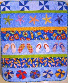 Pattern, Quilt, Summer Fun Row Quilt, 41 x 48, beach, crab, fish, starfish.