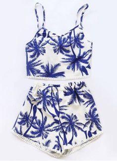 Stylish Spaghetti Strap Printed Two-Piece Women's Swimsuit Swimwear | RoseGal.com Mobile