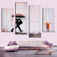Unframed 4pcs/set Banksy Art Colorful Rain oil painting paintings printed canvas wall art home decor wall paintings