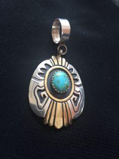 Native American Tommy Singer Sterling Silver Gold Fill  Pendant  Signed - http://elegant.designerjewelrygalleria.com/tommy-singer/native-american-tommy-singer-sterling-silver-gold-fill-pendant-signed/