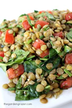 Lentil salad with capers and balsamic-Dijon dressing (vegan, gluten-free)
