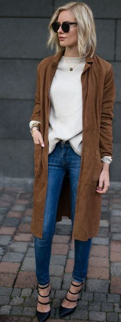 Lisa R V D Camel Suede Trench Coat Fall Street Style Inspo