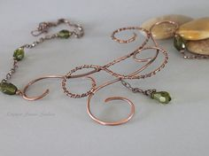 Copper Necklace with Olive Green Drop by CopperStreetStudios