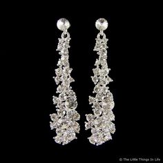 Kelly Sparkling Swarovski Crystal Earrings (Silver) - (with matching bracelet)