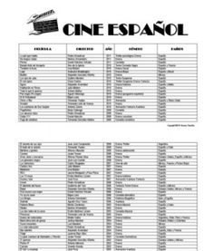 CINE ESPAÑOL from laclasedeele website. List of movies, genres, and directors…