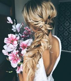 Soft Loose Side Bridal Braid with Flowers