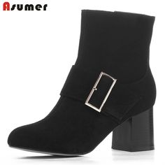 90.00$  Watch now - http://alid5a.worldwells.pw/go.php?t=32702123527 - 2016 spring autumn ladies ankle boots genuine leather round toe square heels with buckle and zip high quality women shoes 90.00$