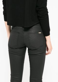 Coated black jeans... keep it classy with a minimal unfussy top and simple sexy shoes