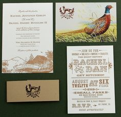 Pheasant Rustic Wedding Invitation Suite