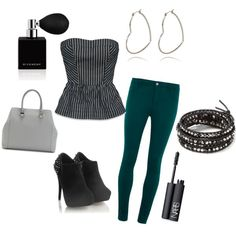 A Pinstripe tube top with green skinny jeans, black ankle boots, hoop earrings, a doctor bag, beaded bracelets, mascara & fragrance.
