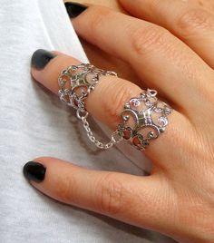 Silver slave ring Statement ring Silver filigree adjustable