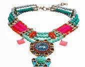 Declaración turquesa collar, fucsia, naranja - hippie, collar babero Ibiza - estilo gypset - Swarovski