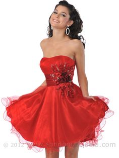 homecoming dresses red | Short Prom Dresses, Net Overlay Prom Dress, Empire Waist Young Women's ...