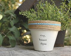 """This listing is for one 6 hand decorated terracotta pot with the phrase Thyme After Thyme""""  Hooray puns! These pots are a perfect addition to your home, office, friends house, mothers kitchen or anywhere you can put a pun on it! Brighten your day and windowsill with these hand decorated pots made out of a home workshop in East Los Angeles.  » Pot does not include plant » The height and diameter of the pot are 6 inches » All pots are sealed with an earth safe finish for safe growth of all…"""