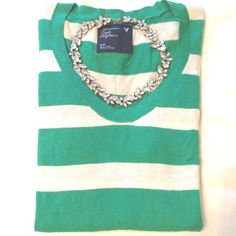 •• s t r i p e d    s w e a t e r •• green Sweater is in great shape. It is a bright green and off white stripped light weight sweater. Material is still super soft. A little fitted but stretchy. Perfect for fall! American Eagle Outfitters Sweaters