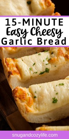 Easy Cheesy Garlic Bread is the perfect appetizer or side dish! This homemade loaf recipe is quick to put together, is super tasty, and is honestly better than anything you'll get at your local pizza restaurant! #easyappetizer #cheesybread #garlicbread #italianrecipes #tailgate #buffet #superbowl #20minuterecipe #quickappetizer