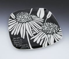 sgraffito echinacea porcelain plate