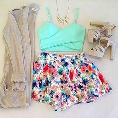 mint crop top, floral skirt, tan cardigan, tan heels #spring