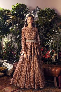 Maroon & Beige Peplum Anarkali With Belt Indian Gowns Dresses, Indian Fashion Dresses, Indian Designer Outfits, Indian Outfits, Pakistani Dresses, Peplum Gown, Peplum Dresses, 21 Dresses, Wedding Lehenga Designs
