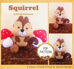 #squirrel #etsy #pdfpattern apostila e moldes de feltro