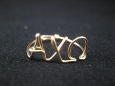 Sorority, Sorority Ring, Alpha Chi Omega, Alpha Chi Omega Ring, College Ring, Class Ring, Greek letter Ring, Gold Ring, Adjustable Gold Ring. $20.00, via Etsy.