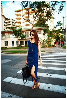 Western Style Solid Color Elastic Waist High Side Slit Design Two-Piece Dress For Women (DEEP BLUE,ONE SIZE) China Wholesale - Sammydress.com