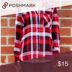 Red Button Down Plaid Top NWOT Red Long Sleeve Plaid Top  100% Rayon Derek Heart Tops Button Down Shirts